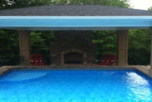 Carolina outdoor kitchens outdoor fireplace patio covers for Innovative pool design kings mountain